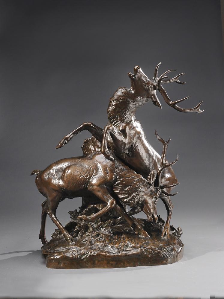 G gardet bronze patine le combat des cerfs xix me for Antiquaire lille meuble